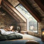 Open Space Cabin With Huge Skylight Gray Bedding Treatment Tree Trunk Table Wood Plank Ceilings And Walls