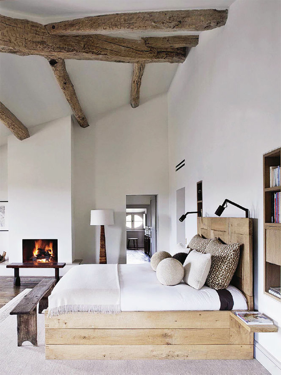 platform bed frame with headboard shabby wood bench bed exposed wood beams in classic rustic style