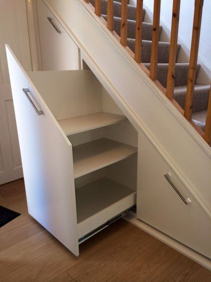 pull out shelving units under thestaircase