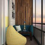 Stylish And Fresh Balcony Textured Wood Paneling Wall Poppy Yellow Beanbag Dark Wood Table Dark Wood Floors