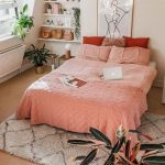 Sweet Pink Bedding Treatment Product Wooly Area Rug With Modern Patterns Some Potted Houseplants Recessed Rack For Books And Small Decorative Pieces