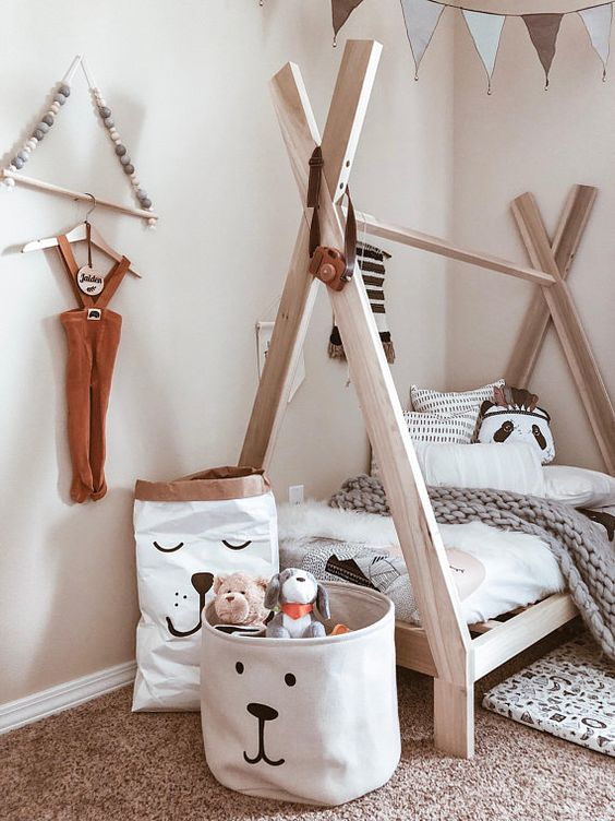 teepee tent bed frame with white mattress crochet throw blanket in gray cream shag rug animal faced cloth baskets