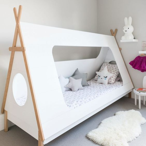 teepee tent bed with white cover white shag mat