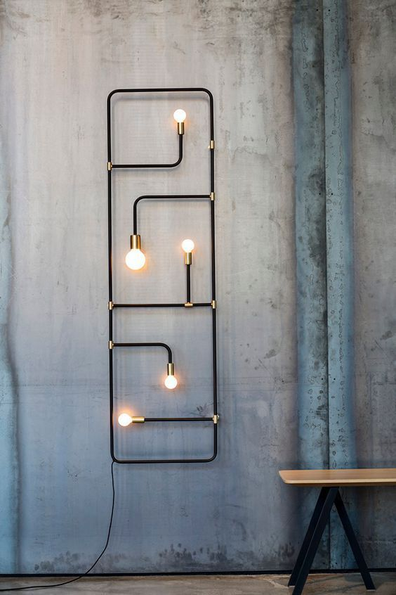 DIY accent lighting fixture in modern industrial style