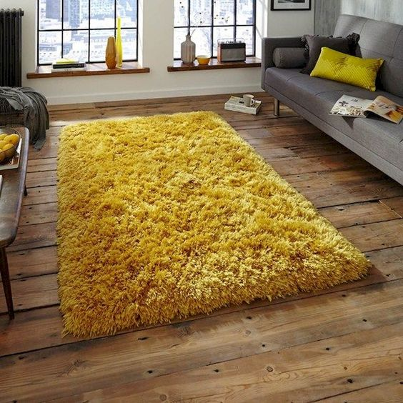 accent area rug in mustard