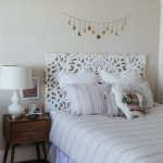 Bed Frame With Handcarved Headboard In White Midcentury Modern Bedside Table Little Wall Decor