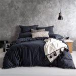 Black Washed Finish Walls Light Gray Floors Charcoal Toned Bedding Treatment