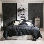 Black Washed Walls White Bed Linen Covered With Black Blanket Artsy Painting Huge Houseplant With Black Planter