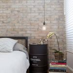 Brick Walls With Light Whitewashed Finish Ex Drum Nighstand A Pile Of Book Wood Floors