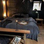 Chalkboard Like Walls In Black Gray Bedding Treatment Wooden Bench Bed Ornate Basket Wooden Bedside Table