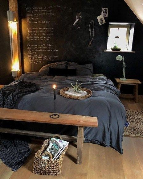chalkboard like walls in black gray bedding treatment wooden bench bed ornate basket wooden bedside table