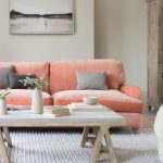 Coral Inspired Sofa With Velvet Cover Light Wood Coffee Table White Woven Area Rug