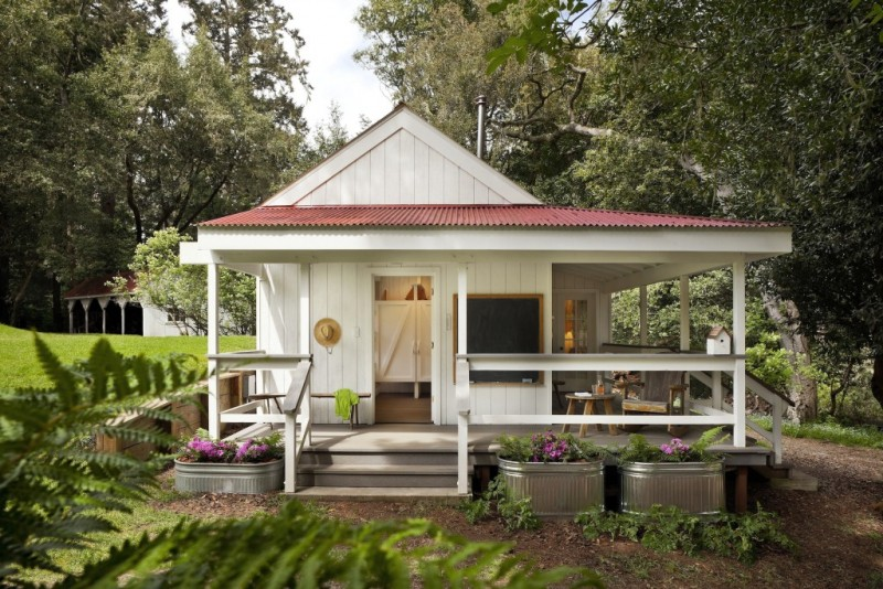 country style tiny house in white