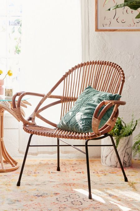 curve framed rattan chair with cage strand back