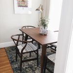 Dining Room With Dark Toned Abstract Print Wood Frame Dining Chairs With American Tribe Inspired Print Cushion