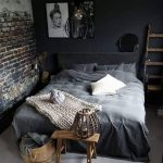 Gray Bedding Treatment Knitted Throw Blanket In Soft Gray Dark Brick Walls Dark Gray Deco Walls