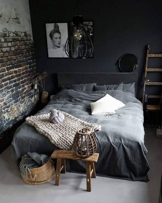 gray bedding treatment knitted throw blanket in soft gray dark brick walls dark gray deco walls
