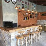 Kitchen Island Kitchen Bar With Hardwood Top And Colorful Vintage Tiled Walls Red Brick Accent Wall Conrete Walls