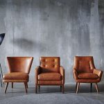Leather Chair Series With Bare Concrete Wall Background