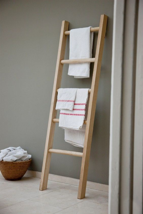 light wood leaning ladder rack for towels