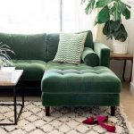 Midcentury Classic Sofa In Green With Velvet Tufted Back And Bench Seat Cushions