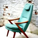 Midcentury Modern Armchair With Wood Armrests And Legs And Blue Upholstery