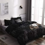 Modern Bedroom Black Comfort With Gray Stains Gray Bed Linen Wood Like Floors Rug With Modern Patterns Crisp White Walls