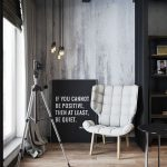 Modern Industrial Sitting Area Modern Chair With Tufted Upholstery Industrial Hang Lamps Whitewashed Walls Light Wood Floors
