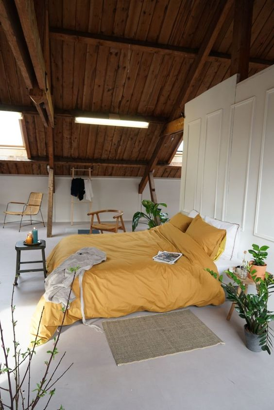 mustard bedding treatment wooden room partition in white crisp white floors exposed wooden roofs