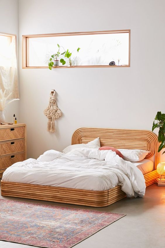 rattan platform bed frame with oval headboard