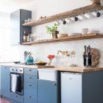 Reclaimed Wood Shelves Diamond Cut Tiled Backsplash In White Blue Matte Kitchen Cabinetry Clean White Walls
