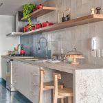 Simple And Modern Kitchen Light Gray Tiled Backsplash Wooden Open Shelving Units Gray Stone Kitchen Countertop Light Wood Stools