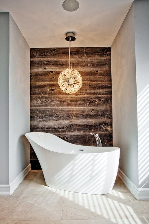 small bathroom design modern white bathtub wooden wallpaper oversized pendant lamp
