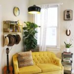 Yellow Loveseat With Tufted Cushion Slipcover For The Corner Space