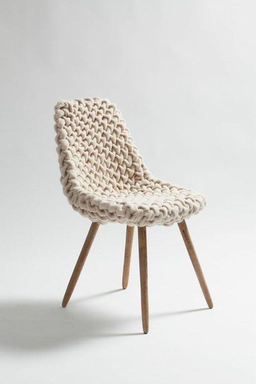 Chunky Knit Chair with angled wood legs