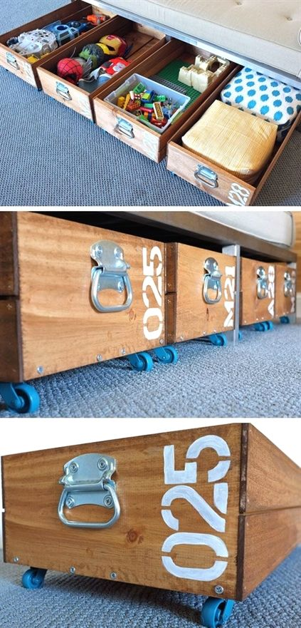 DIY storage solutions made of ex crates completed with caster wheels
