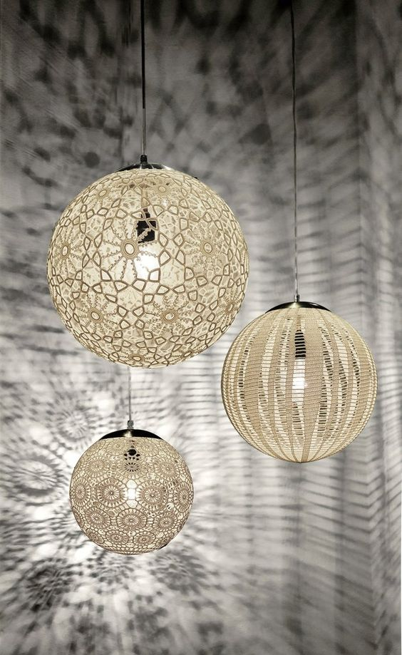 Liz light fixture with hand crochet patterns