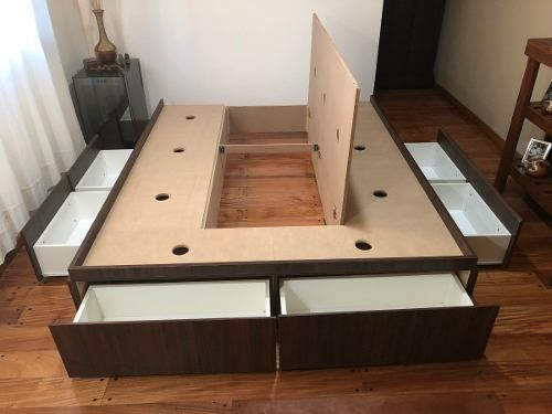 bed frame with multi storage solution underneath