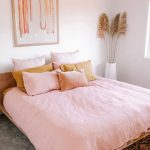 Blush Bed Linen Blush Pillows Mustard Pillow Rust Colored Area Rug With Bold Patterns In Black