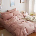 Blush Pink Linens Crisp White Walls Wood Floors Cream Toned Area Rug