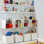 Clean Line Storage Solution Consisting Of White Boxes White Wall Mounted Shelves And White Open Shelves