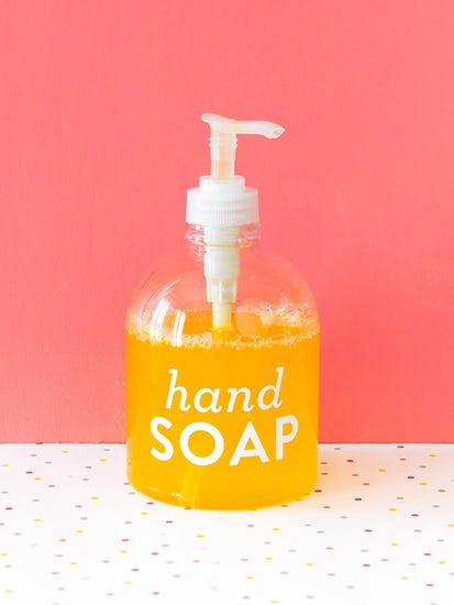 clear handsoap bottle with letters