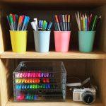 Colorful Pens And Pencils Pots Clear Pens Shelves