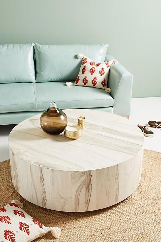 drum coffee table in whitewashed finish by Anthropologie