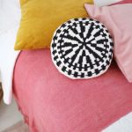 Handwoven Accent Pillow In Monochrome Mustard Accent Pillow Sweet Pink Accent Pillow