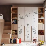 Huge Wooden Storage Solution With Spaceship Arts Round Shaped Area Rug With Colorful Modern Patterns