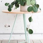 Interior Vines On White Pot Round Wood Top Side Table With Hairpin Legs