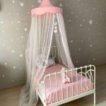 Kid's White Finish Iron Bed Frame With Headboard And Footboard Pink Bed Canopy Lace Net In White Stars Print Wallpapers