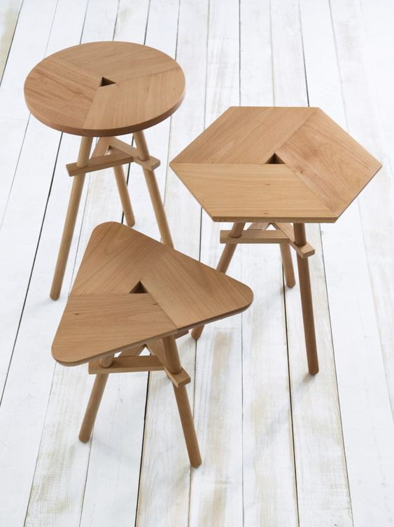 light wood stools in contemporary style with different tops