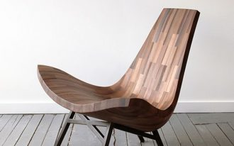 modern wooden chair with natural grain